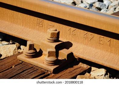 "Track fastening of an underground line in Frankfurt on a wooden sleeper, German type ""Oberbau K""  Rolling mark: Track type S49 - (49kg per m)"