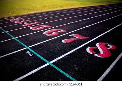 Track & field lanes 1 through 8