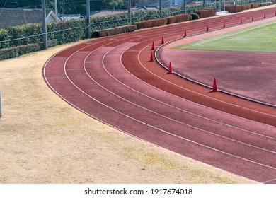 Track and field stadium track corner