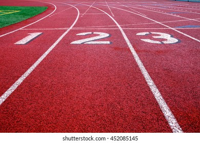 Track and field starting line lanes 1-3