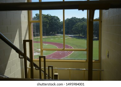 Track from inside school stairwell