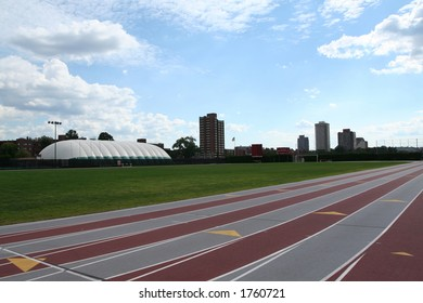 track lanes on a college campus