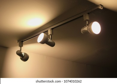 track lighting installation at the ceiling