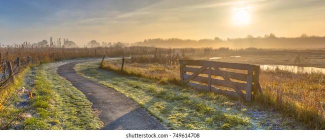 Track in misty agricultural polder landscape near Groningen, Netherlands
