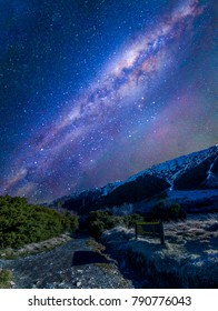Track to the Mount Cook National Park,New Zealand with milkyway background