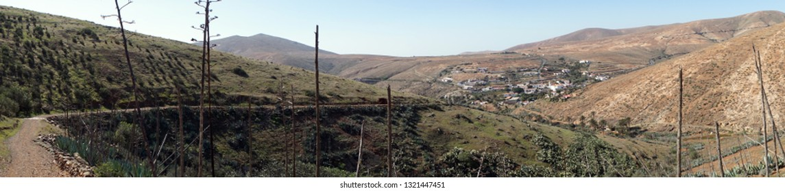 Track on the slope of hill near Betancuria on the Fuerteventura island, Spain