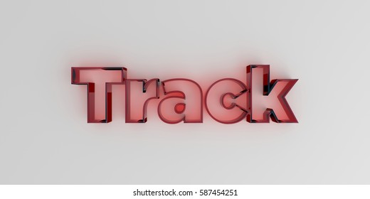 Track - Red glass text on white background - 3D rendered royalty free stock image.
