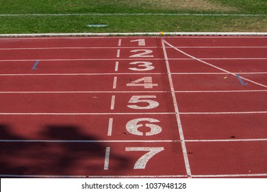 Track, Running, the Red Sport Field In the treadmill outdoors,