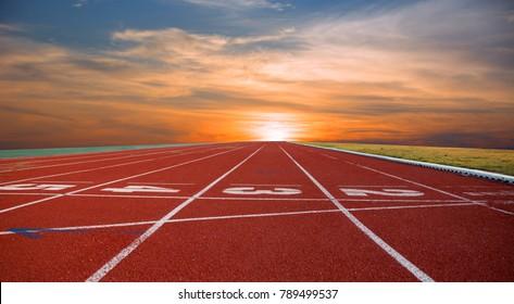 track running, track sunset red