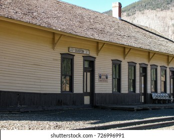 The track side of the historic Silverton Colorado railroad depot built for the Denver & Rio Grande railroad now serves the steam powered trains on the Durango and Silverton Narrow Gauge Railroad.