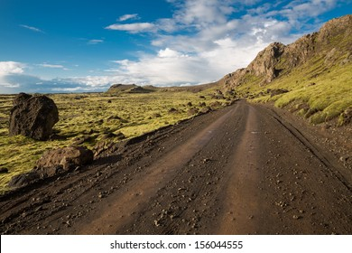 Track through Iceland landscape
