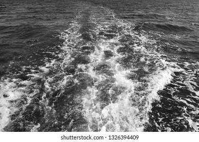 Track trail behind of speed boat on sea surface. Shoot in black and white shot.