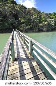 The track from the Waitangi Treaty Grounds to Haruru falls, crosses this bridge over the Waitangi river then Mangrove swamp then the falls.
