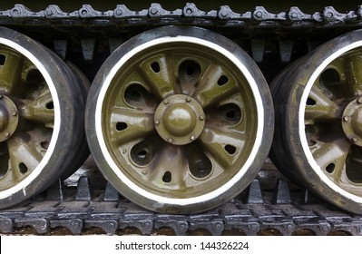 track and wheels of the Soviet tank t-54