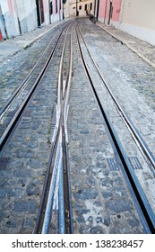 tracks of the cable cars of Lisbon, Portugal
