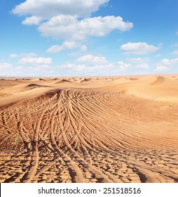 Tracks of cars on the sand in the desert.