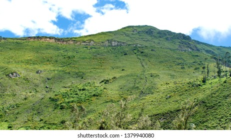 Tracks of the Devil's Nose Railroad on the side of a mountain outside of Alausi, Ecuador