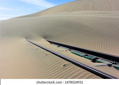 Tracks lead into the nothingness of the desert