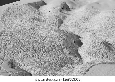 tracks of off-piste skiiers and snowboarders in Elm,Glarnerland,Switzerland