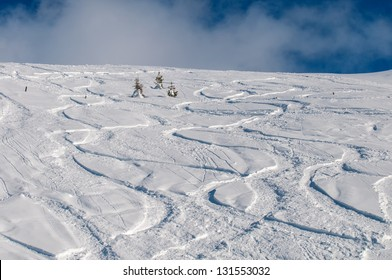 tracks on snow , Kitzbuhel - Shutterstock ID 131553032