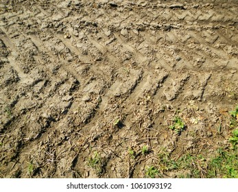 Tracks Of A Tractor In A Field, Mud, Trace, Detail