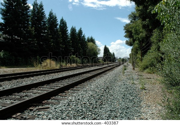 Tracks used by Caltrain, a commuter rail line to San Francisco, California