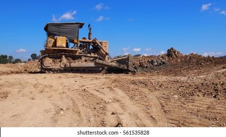 Tracktor leader on constructio site.