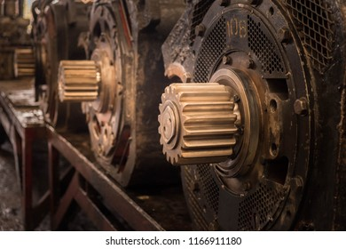 Traction motor in depot waiting for maintenance, the motor is a prime mover of electric locomotive