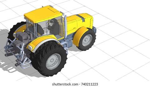 Tractor, 3d illustration