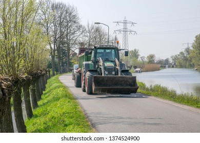 Tractor Along The Gein River At Abcoude The Netherlands 2019