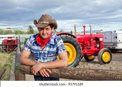 Tractor driver in western clothing. Calgary Stampede 2011, Alberta, Canada