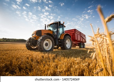 A tractor during the harvest