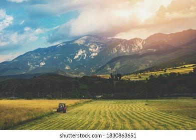 Tractor in a field near Barcelona, Spain
