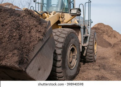 Tractor filled with mulch