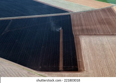 tractor in france aerial view