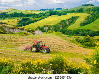 Tractor mowing the grass in the fields to harvest bales of hay