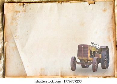 tractor on an old paper