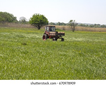 Tractor on a spring meadow. Nature