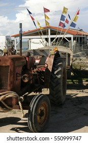 Tractor and Oyster shack on Il de Re.