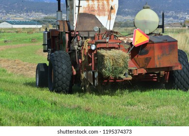 Tractor raking loose hay and forming square bales.