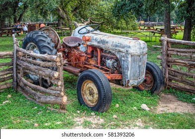Tractor, rusty, old, wheels, terrace, bar, park benches, snack, antique, metal, steel, agriculture, machinery,