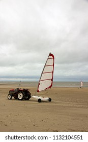 Tractor and sand yacht. Beach of Normandy (Trouville France)