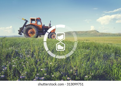 Tractor Scenic View Rural Harvesting Blossom Concept