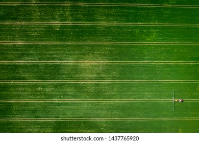 Tractor spraying the pesticides on field, aerial view of Poland