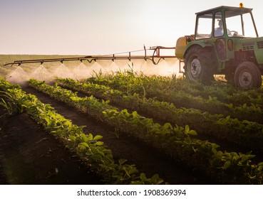 Traktorspritzen von Pestiziden auf Sojamarkt mit Sprühgerät im Frühjahr