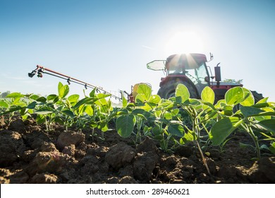 Tractor spraying soybean crops with pesticides and herbicides
