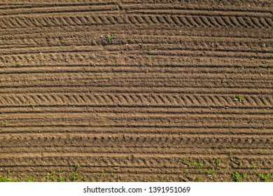 tractor tracks on brown soil
