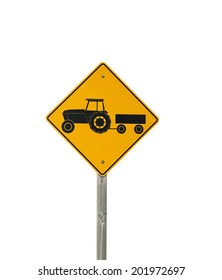 tractor trailer caution sign in the country
