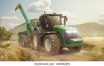 Zugmaschine mit Anhänger auf einer Schmutzstraße neben einem Getreidefeld