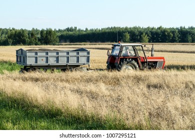 tractor with a trailer for harvesting